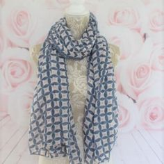 Navy Blue & Small Pink Spot Geometric Print Scarf #fresh_navy_blue_small_dot_dotty_geo_geometric_print_pink_accents_scarf_Spring_Summer_new_retro_vibe