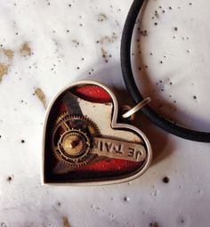 Shadowbox Collage Heart- Je Taim, necklace, sterling, painted steel, watchparts, 14k