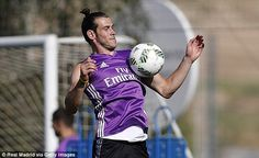 Bale rises high to control a pass with his chest in the Madrid sunshine