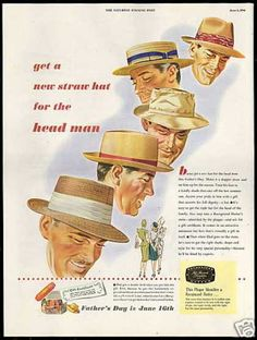 mens hats came in several common styles such as the fedora, trilby, straw hat, homburg and porkpie. Learn about and buy style vintage men's hats 1940s Mens Fashion, Best Mens Fashion, Vintage Fashion, Fashion Hats, Victorian Fashion, Fashion Ideas, Mens Straw Hats, Hats For Men, Women Hats