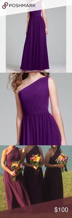 Beautiful Formal Dress by Alfred Angelo 7243 Draped Chiffon Full Length Formal Dress.  A classic, floor length silhouette characterizes this long designer gown. The single-shoulder pleated bodice is joined at the waist with layers of delightful draped chiffon.  Color Grape.  Size 2 but was altered (closer to size 0).  Style 7243. Please ask for measurements! Worn once as a bridesmaid in a wedding.  Great condition!   FEATURES   Chiffon One-Shoulder Neckline Pleated Bodice Natural Waist Floor…