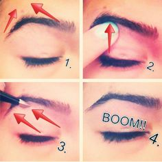 How to get the perfect brow!!!  1. Raise your brow like ur surprised!  2. Where the highest point is, that's where you want your arch to be!  3. Pluck your hair away from your nose!  4. And BOOM!!! Your perfect brow!!!