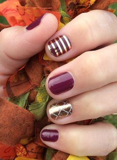 Boysenberry Tint with Metallic Gold Pinstripe. Accent nail is the October Hostess Exclusive and is rose gold. www.jennifercross.jamberrynails.net