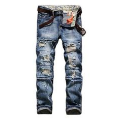 Motorcycle Vintange Wolf Printing Folds High Elastic Slim Ripped Jeans for Men - NewChic Mobile.