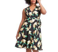 8b1ab7de758 UNIQUE VINTAGE Pineapple Wrap Dress Black Plus Size Womens 3XL New w  Flaw