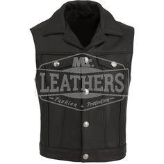 Mens Black Leather Motorbike Vest