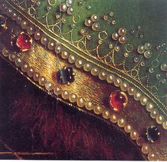 Hubert and Jan van Eyck - The Ghent Altarpiece (also called the Adoration of the Mystic Lamb) - large and complex 15th century Flemish polyptych panel painting.  Close-up view to John the Baptist