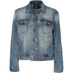 Dr Denim Blanca Denim Jacket found on Polyvore featuring outerwear, jackets, coats, coats & jackets, denim, stone, womens-fashion, denim jacket, tall denim jacket and blue denim jacket