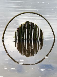 Using the water surface as a mirror, Ludovic Fesson creates fascinating geometric shapes made of sticks, branches and other things he finds ...