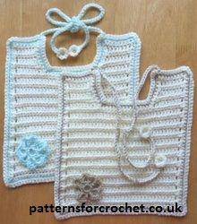 Free baby crochet pattern for tie bib from http://www.patternsforcrochet.co.uk/tie-bib-usa.html #patternsforcrochet