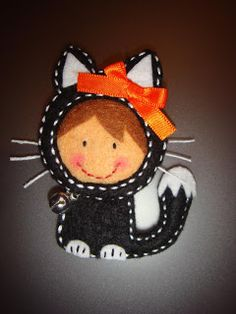 So fun - girl in cat costume brooch