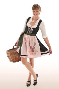 If we could get a different apron on this one it could work!  You like the light pink color right?  The deer is . . . well . . . at least the apron is probably the easiest part of the outfit to correct!!!    Wunderschönes Mini Dirndl Norma - Mini Dirndl - DAMEN | Trachteria