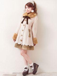 ●予約●[配色が可愛い♪裾スカラップ&オリジナル刺繍ファー付コート|P||]【M~3L】【D41104】|夢展望