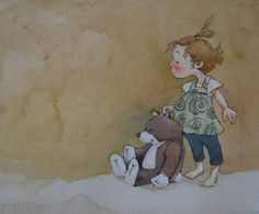 """wooput 1 9""""x7.5"""" watercolor on paper-Sherry Meidell"""