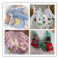 Crochet baby shoes infant sandals button pearl