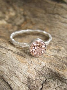 Tiny Rose Gold Druzy Ring Titanium Drusy Quartz Sterling Silver Hammered Band on Etsy, $58.00