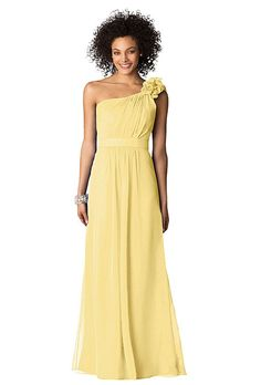 Brides.com: One-Shoulder Bridesmaid Dresses. One-Shoulder Bridesmaid Dress: After Six. Style 6611, After Six one-shoulder, floor-length lux chiffon dress with shirred bodice, flower shoulder detail and matching belt in buttercup, $230, available at Weddington Way  See more After Six bridesmaid dresses.