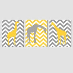 Modern Chevron Giraffe Trio - Set of Three 11x14 Chevron Zig Zag Prints - Pick Your Colors - Gray, Yellow, and More. $59.50, via Etsy.