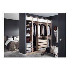 PAX Kleiderschrank, Eicheneffekt weiß lasiert, Auli Spiegelglas - Schiebetürdämpfer - 200x66x236 cm - IKEA
