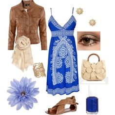 Breezy, created by jennifer-44 on Polyvore. Follow her on Polyvore. P.s don't like the bag or scarf...