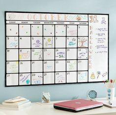 Dry-erase calendar art is a great DIY dorm room decor idea!