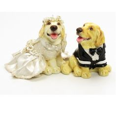 Golden Retriver Cake Topper for Wedding Decoration or Keepsake Double function as salt pepper shaker I embellished these Bridal Golden Retriever with light ivory bridal dress adorn with pearl roses around the dress and also has white roses tiara and a big bow in front of the dress. Groom wearing black tuxedo, white shirt and black bow tie. I also add glitter that I using my own technique for sparkling. All the embellishments are hand sculpt with beautiful detail. very incredible details...