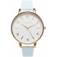 Olivia Burton Large White Face Watch - Gold & Powder Blue (2 325 UAH) ❤ liked on Polyvore featuring jewelry, watches, accessories, bracelets, часы, gold jewellery, gold watches, leather-strap watches, yellow gold jewelry and gold wrist watch