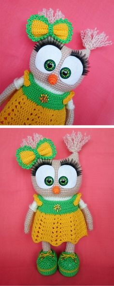 Crochet this cute owl in dress using free pattern!
