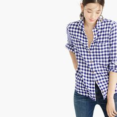 """In terms of hands-down closet essentials, our boy shirt ranks up there with blue jeans, chinos and little black dresses. Featuring a boyfriend-inspired fit that's tailored especially for you, this style features a soft flannel fabric that's perfect for right now. <ul><li>Body length: 28"""".</li><li>Cotton.</li><li>Long roll-up sleeves.</li><li>Button placket.</li><li>Chest pocket.</li><li>Machine wash.</li><li>Import.</li></ul>"""
