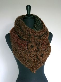 Mini Shawl Brown Rust Sienna Chestnut Color by KnitsomeStudio