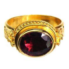 22k Rubelite Classical Ring
