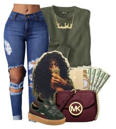 """""""If her Fly match her Hu$le then she a keeper"""" by heavensincere ❤ liked on Polyvore featuring Rolex, Michael Kors and Puma"""