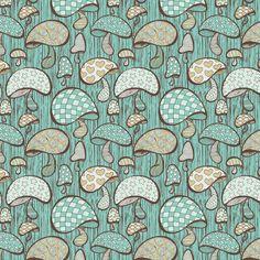 Wonderland Mushrooms - Blue Art Print