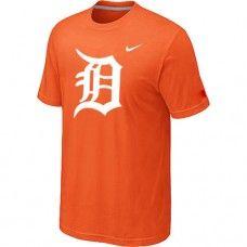 Wholesale Men Detroit Tigers Heathered Blended Short Sleeve Orange T-Shirt_Detroit Tigers T-Shirt