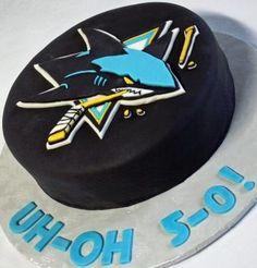 San Jose Sharks Hockey Puck Birthday Cake Oh-No 5-0! Angled - Could use Calgary Flames instead