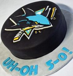 San Jose Sharks Hockey Puck Birthday Cake Oh-No 5-0! Angled - Could use Calgary Flames instead