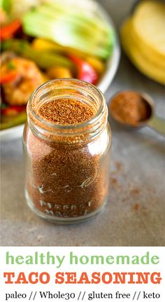 Quick and easy healthy homemade taco seasoning! Made with only 7 ingredients and no preservations, thickeners, or sweeteners. This DIY taco seasoning is cheap to make and you'll never go back to store bought! Whole30, paleo, vegan, gluten free, and keto! - Eat the Gains #tacoseasoning #diytacoseasoning #whole30tacoseasoning #whole30tacos #glutenfreetacoseasoning #healthytacoseasoning #fathersday #healthytacos