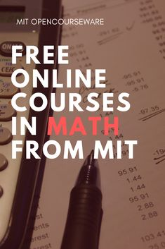 Free math course materials from MIT Math Courses, Free Courses, Online Courses, Importance Of Time Management, Math Help, Science, Free Math, Calculus, Algebra