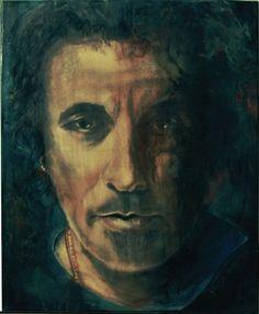 """the boss (Bruce Springsteen) - Frithjof Schulte    """"I´m on fire"""" An diesen Song von Bruce Springsteen werde ich immer erinnert, nachdem ich mir das falsche Rasierwasser gekauft habe ;)     Encaustic/Acryl auf Leinwand 50x70     Tools: Bienenwachs, Maleisen, Lötkolben, Heißluft, Messer, Schwamm,     Merkmale  erstellt 2011    Preis auf Anfrage    Größe:  Breite 50 cm  Höhe 70 cm    Art:  Acryl    Enkaustik    Malgrund:  Leinwand    Thema:  Männer"""