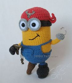 Halloween Pirate Minion amigurumi crochet pattern by jasminetoys