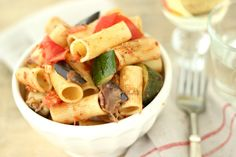 Grilled Vegetable Pasta with Pancetta & Fresh Mozzarella  http://jennysteffens.blogspot.com/2012/06/grilled-vegetable-pasta-with-fresh.html
