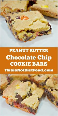 Peanut Butter Chocolate Chip Cookie Bars. Easy recipe for Reese's Pieces cookie bars using cake mix. Dessert / Party Food / 5 Ingredients / Squares