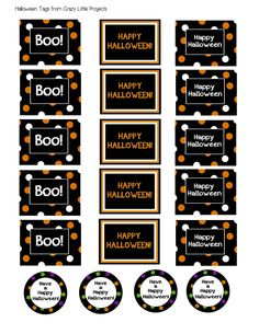 These cute little Halloween treat buckets are a fun Halloween gift to take to a friend. Paint a cute bucket, then fill it with treats and add a tag and you've got a cute gift that's so easy and fun! Dulces Halloween, Bonbon Halloween, Fröhliches Halloween, Halloween Labels, Halloween Projects, Halloween Snacks, Holidays Halloween, Halloween Printable, Halloween Apothecary