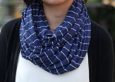 Striped Jersey Infinity Scarf and Nursing Cover in Blue and White