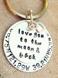 keychain key chain love you to the moon and back by natashaaloha, $36.00