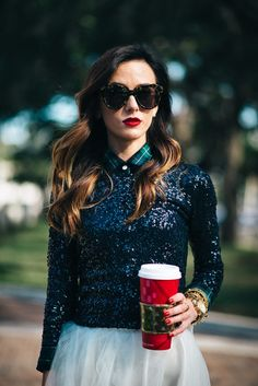 Plaid shirt + sequinned sweater + tulle skirt. Sequins & Things.