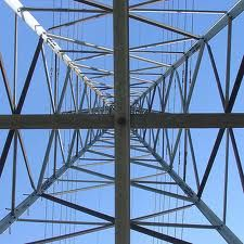 Looking up a pylon/transmission tower from the ground