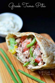 Greek Tuna Pita Sandwich with Easy Herb Aioli | from willcookforsmiles.com | #sandwich #tuna #greek