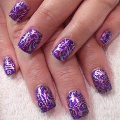 Stylish Purple Nail Art for Wedding
