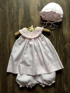 Adorable Petit Ami Infant Baby Girl's Pink Smocked Yoke Dress Set Newborn #PetitAmi #DressyEverydayHolidayWedding